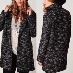 Free People B&W Heathered Wool Blend Coat